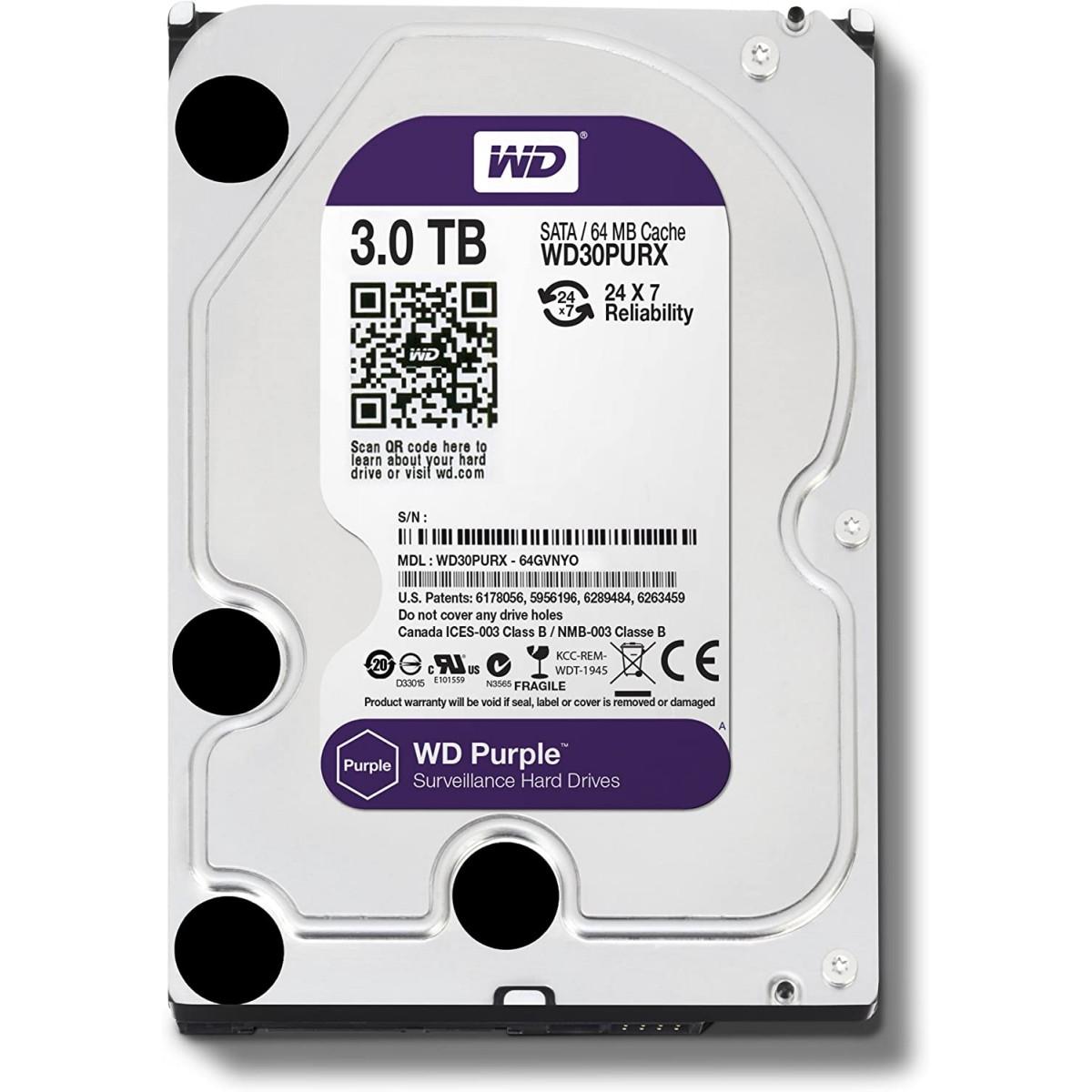 HD Western Digital, WD30PURX, 3TB, SATA III, 7200RPM, 64MB, 3.5'', WD30PURX