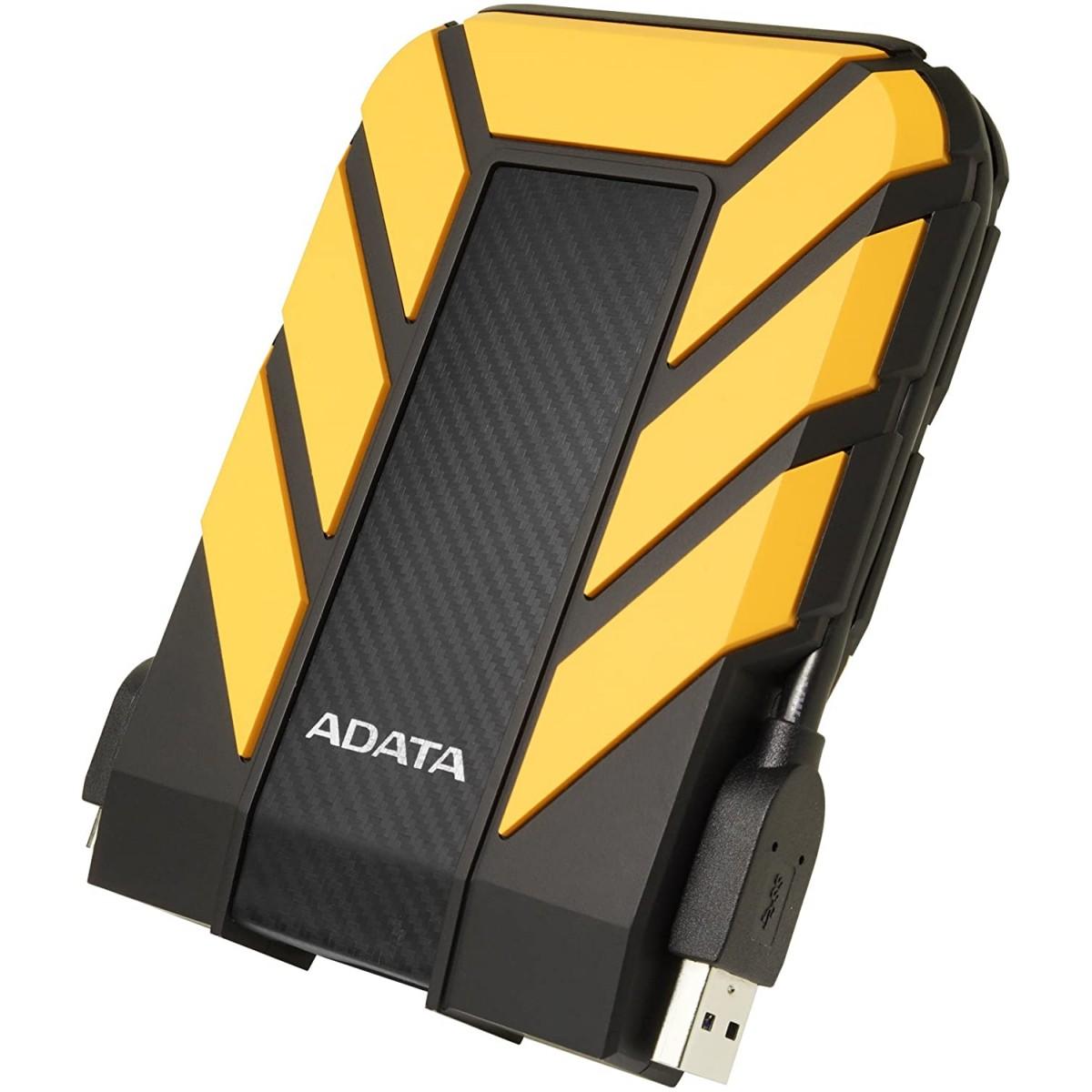 HD Externo Portátil Adata 2TB, USB 3.2, Amarelo, AHD710P-2TU31-CYL