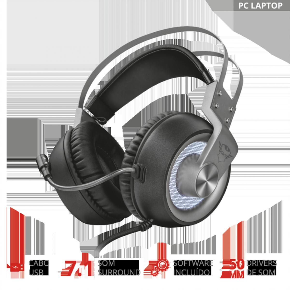 Headset Gamer Trust Ruptor, Surround 7.1, Iluminado PC e Laptop, GXT4376