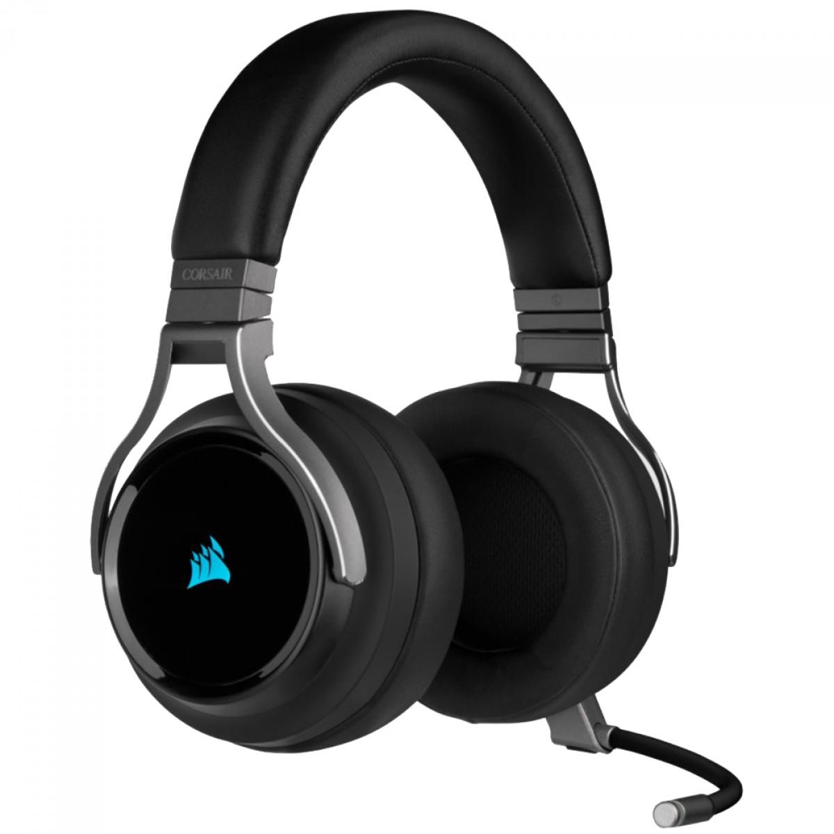 Headset Gamer Corsair Virtuoso Carbono, Sem fio, USB, 3.5mm, PC, PlayStation 4/5, Dispositivos Móveis, RGB, CA-9011185-NA