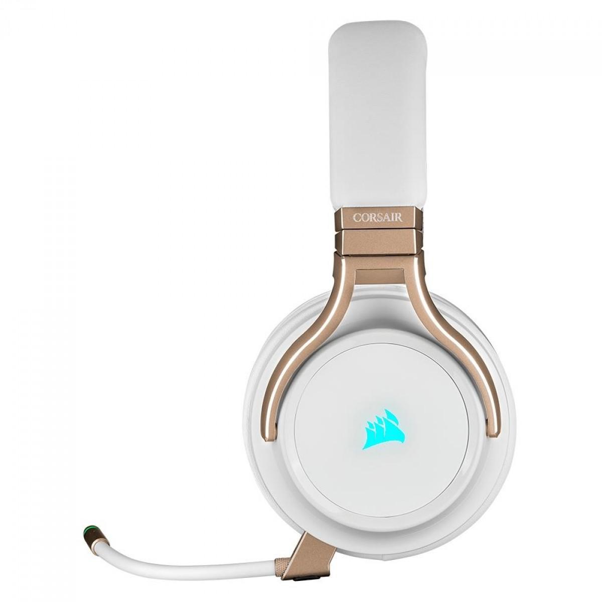 Headset Gamer Corsair Virtuoso Pérola, Sem fio/USB/3.5mm, Múltplas Plataformas, RGB, CA-9011224-NA
