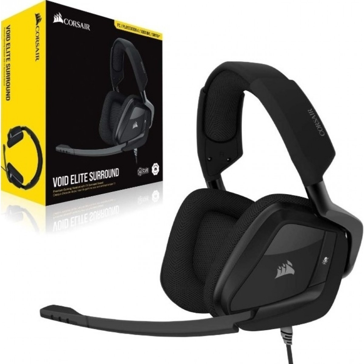 Headset Gamer Corsair Void Elite Surround, USB + 3.5mm, PC, PlayStation 4, Dispositivos Móveis, Switch, Xbox One, Carbon, CA-9011205-NA