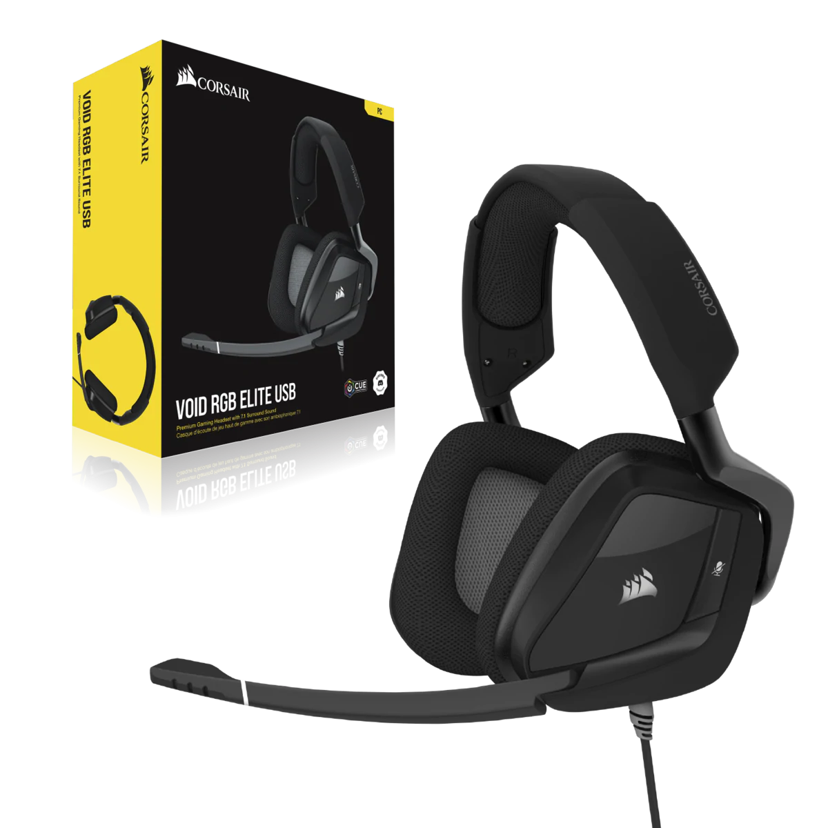 Headset Gamer Corsair Void Elite, USB, 7.1 Surround, PC, Carbon, CA-9011203-NA