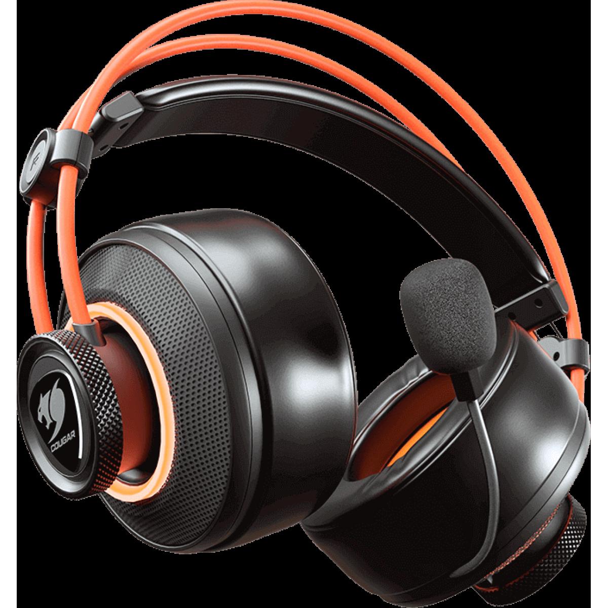 Headset Gamer Cougar Immersa Pro Ti, Surround 7.1, Black/Orange, 3H700U50T.0001