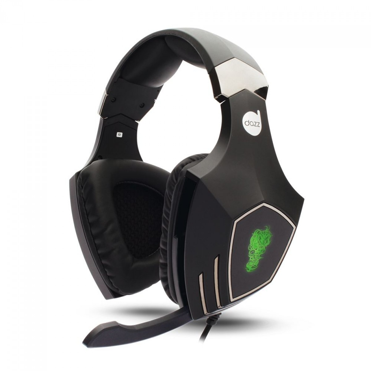 Headset Gamer Dazz, Rock Python, 7.1 Surround, USB, Black/Green, 622147