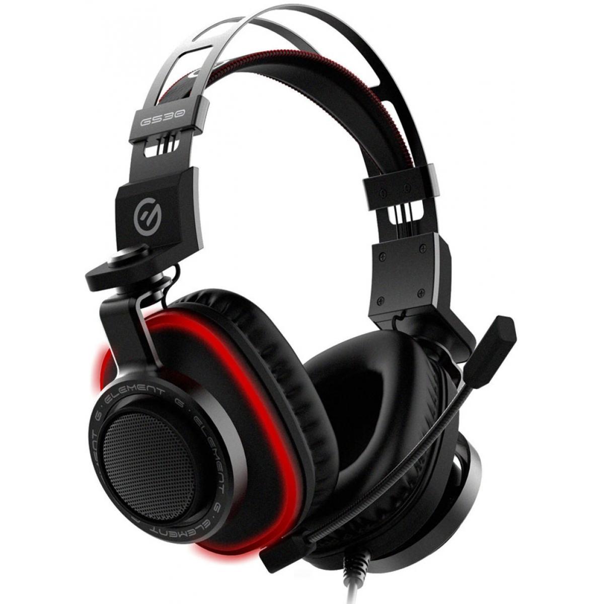 Headset Gamer Element G Single Color P2 Surround 7.1 Led Vermelho G530  - Open Box