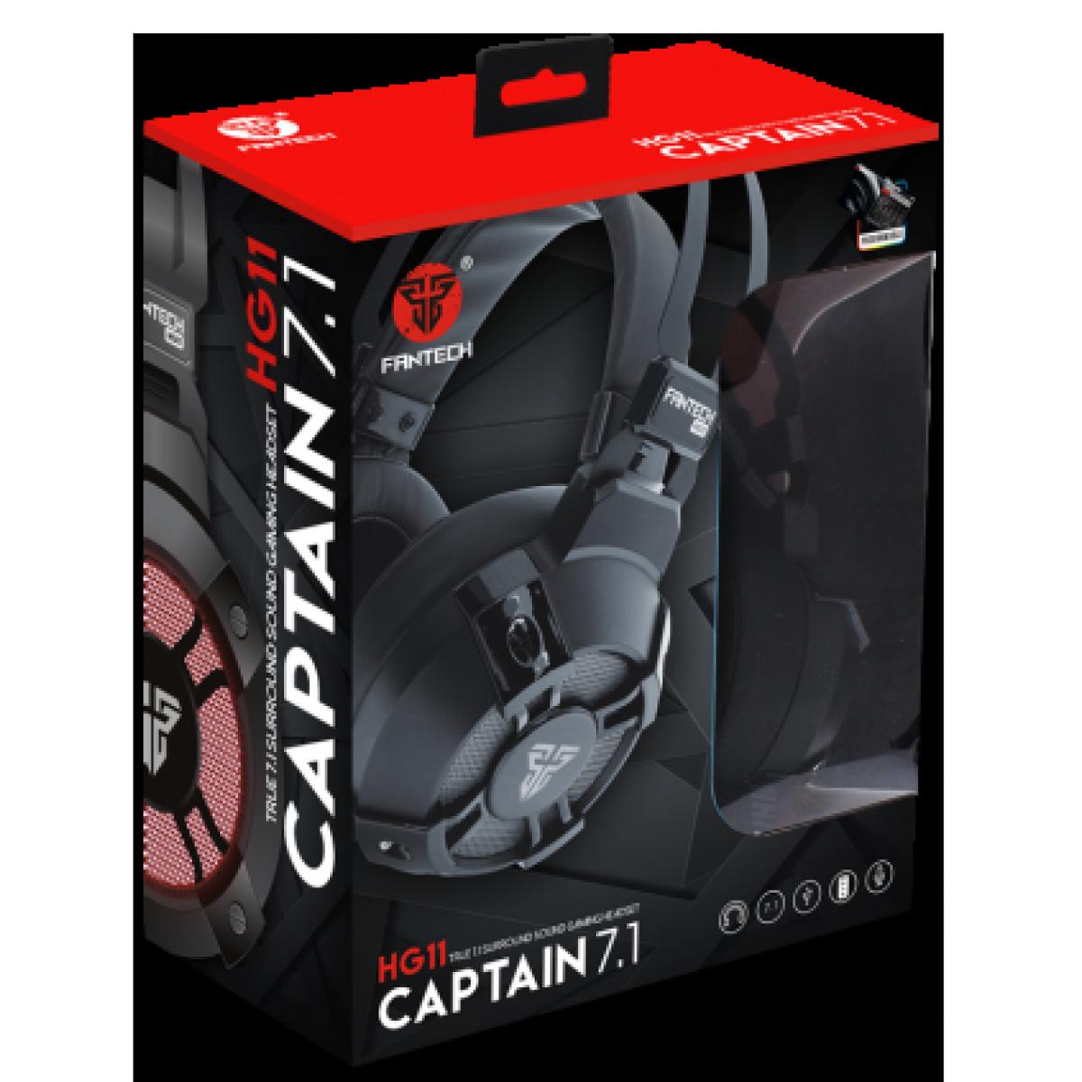 Headset Gamer Fantech Captain, 7.1 Surround, USB, RGB, Black, HG11