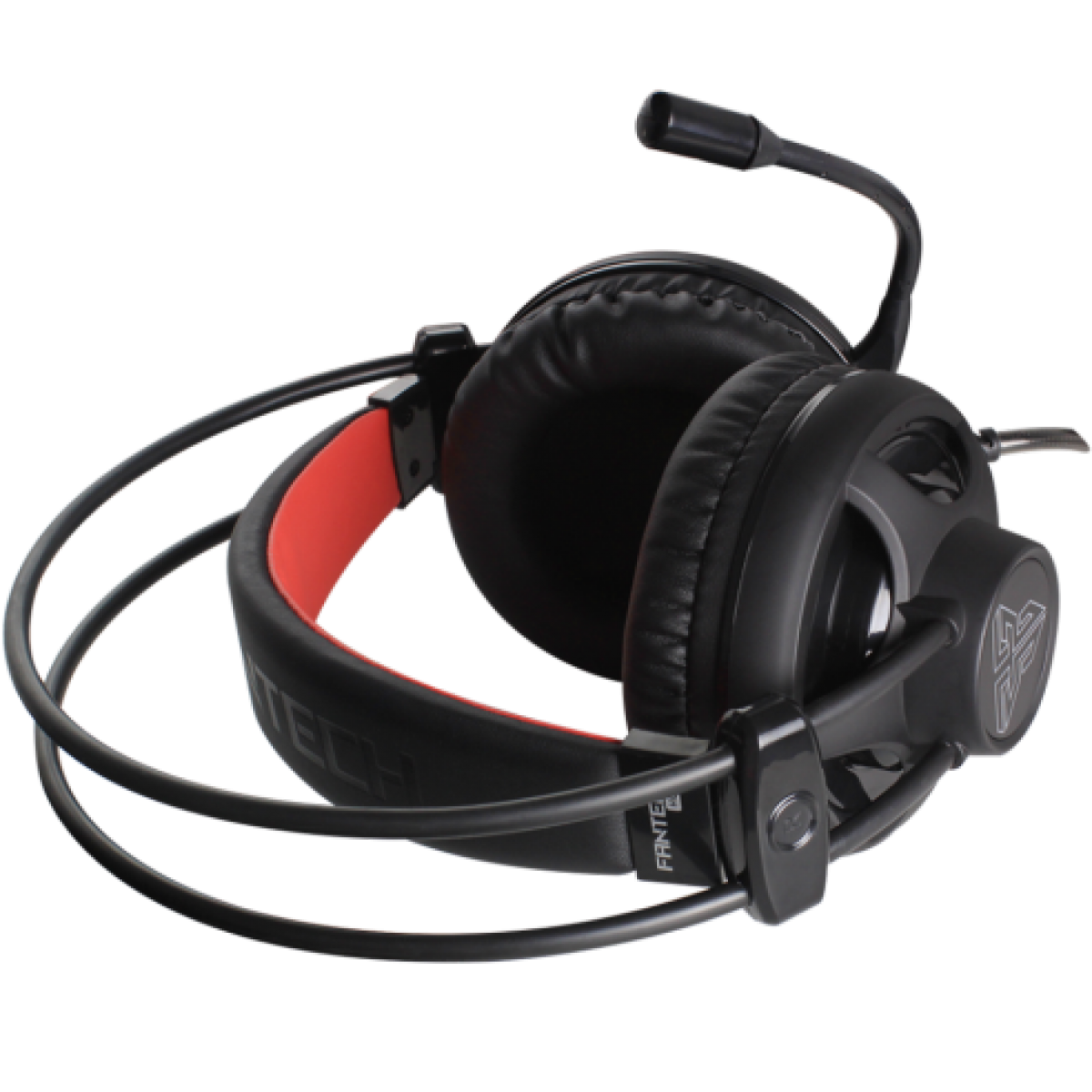 Headset Gamer Fantech Chief, 3.5mm + USB, LED Red, Black, HG13