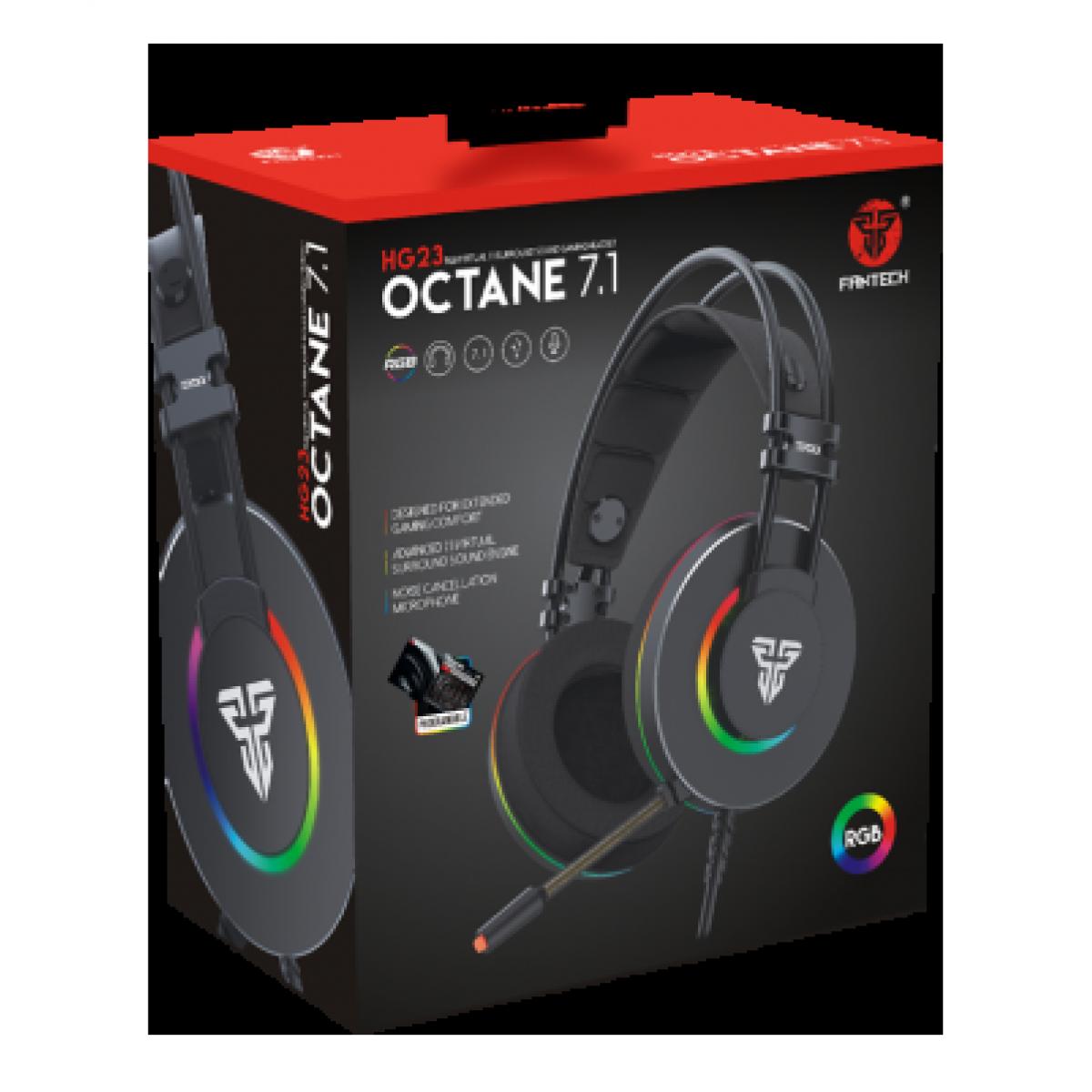 Headset Gamer Fantech Octane, USB, RGB, Black/RED, HG23