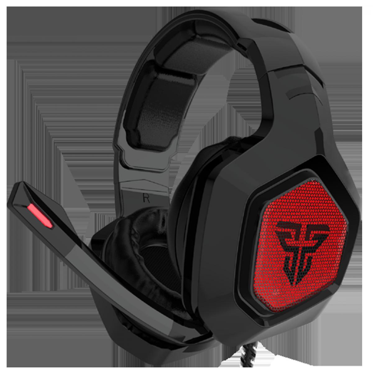Headset Gamer Fantech Omni, 3.5mm + USB, RGB, Black/Red, MH83