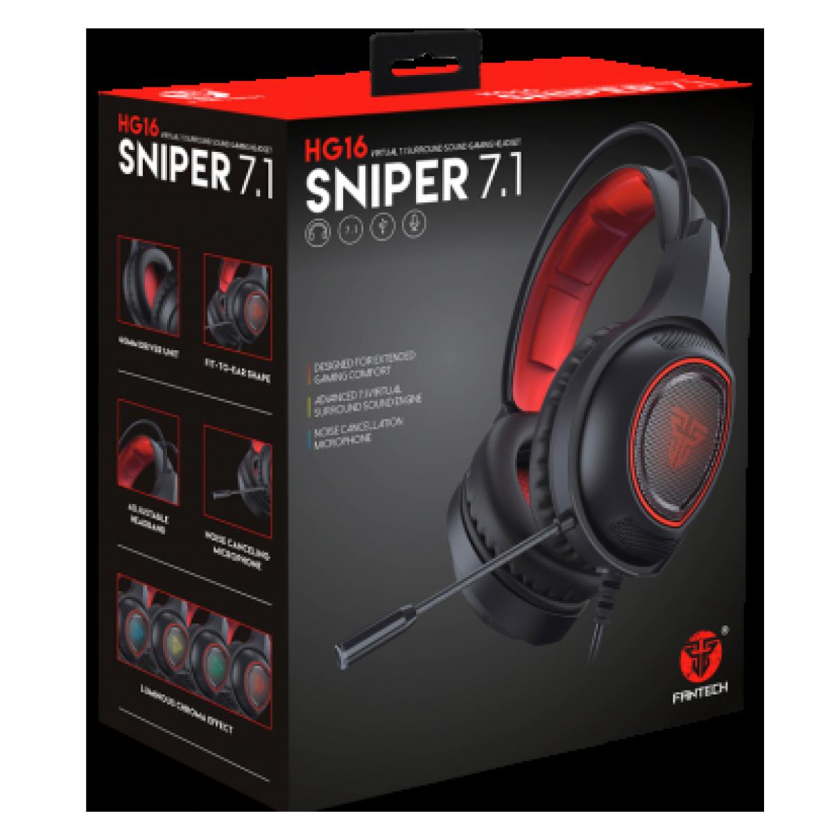 Headset Gamer Fantech Sniper, USB, RGB, Black/RED, HG16