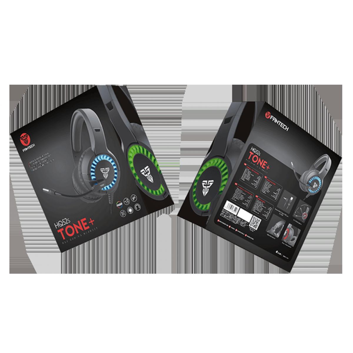 Headset Gamer Fantech Tone+, 2x3.5mm, RGB, Black/RED, HQ52s