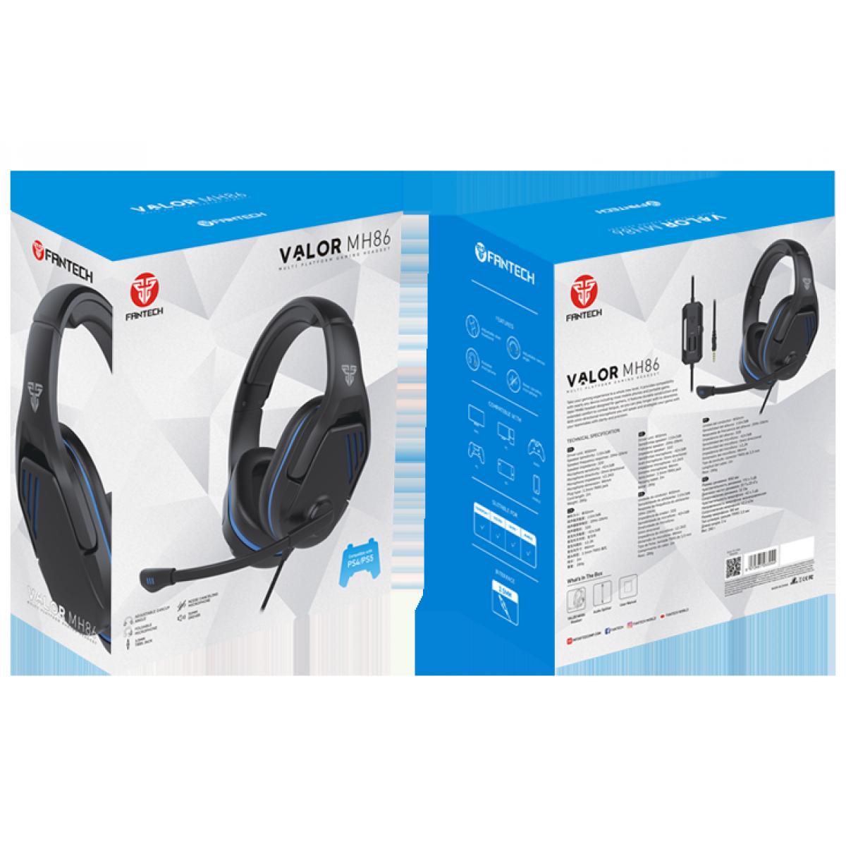 Headset Gamer Fantech Valor, 3.5mm + USB, Black/Blue, MH86