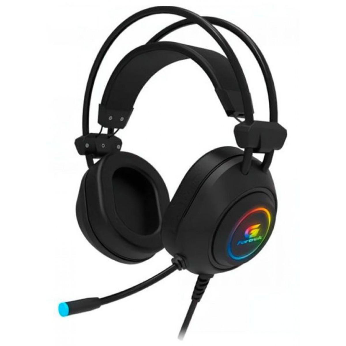 Headset Gamer Fortrek Crusader, Rainbow, USB, Preto, 70555
