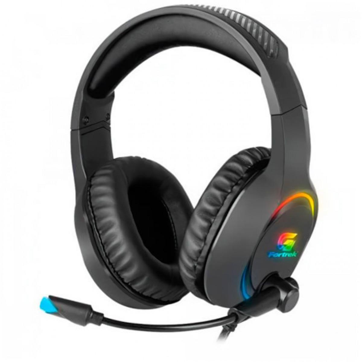 Headset Gamer Fortrek Holt, RGB, USB, Preto, 70552