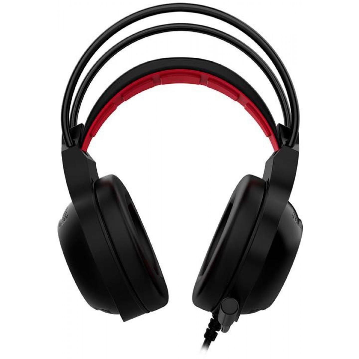 Headset Gamer Gamdias Eros E2 RGB, Preto/Vermelho, USB, Eros-E2