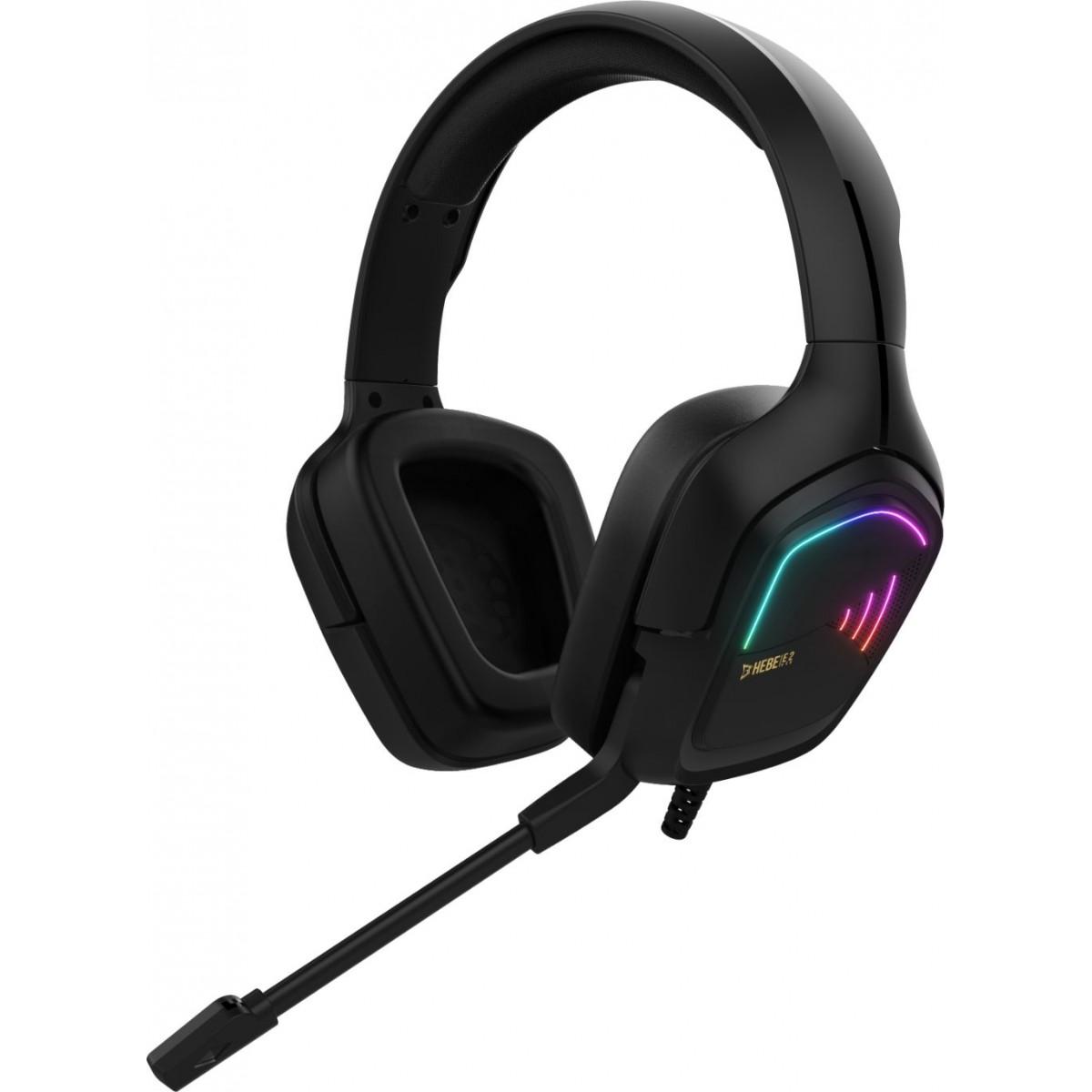 Headset Gamer Gamdias Hebe E2, Estéreo, RGB, Vibração, Black