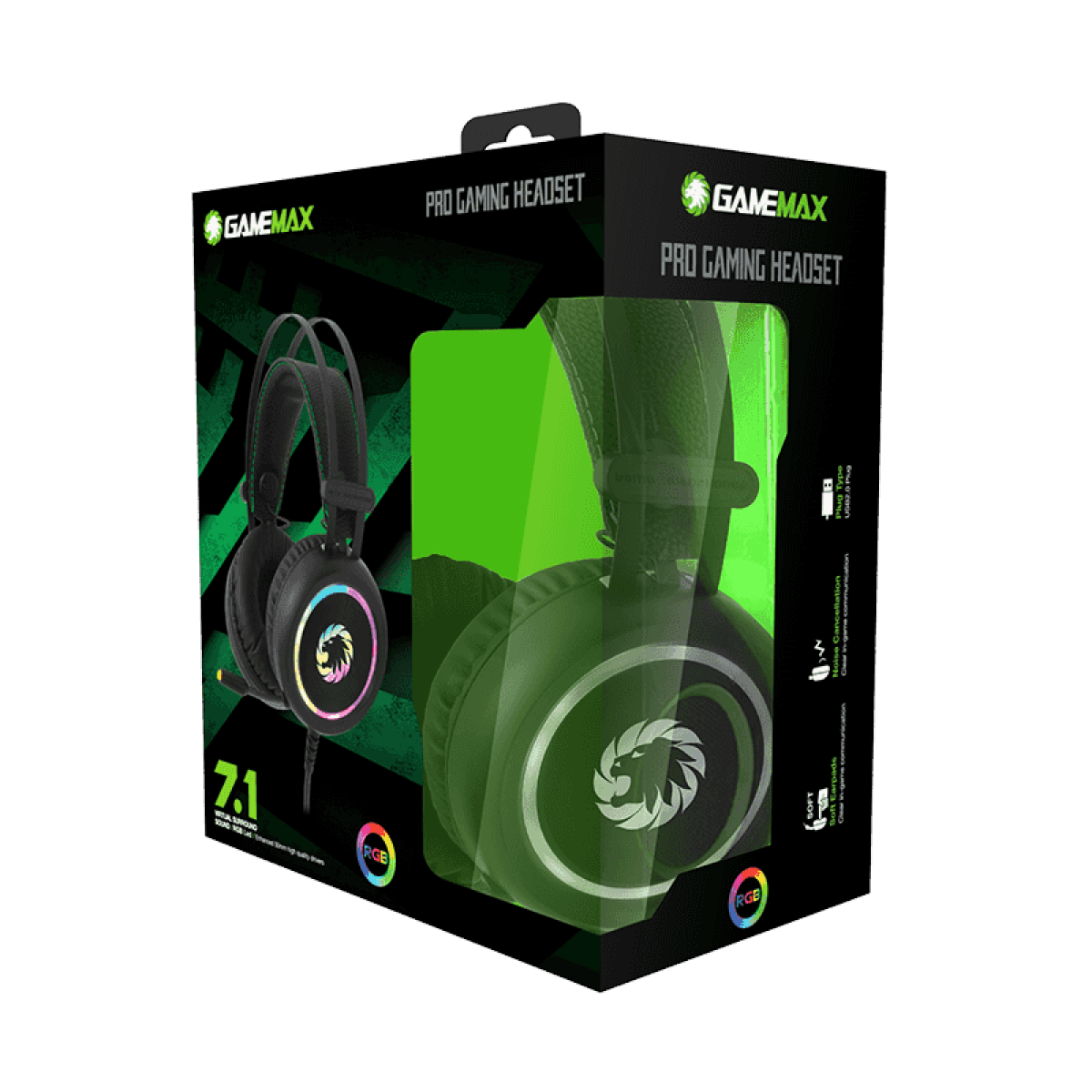 Headset Gamer Gamemax, HG3500, 7.1 Virtual Surround, RGB, USB, Black