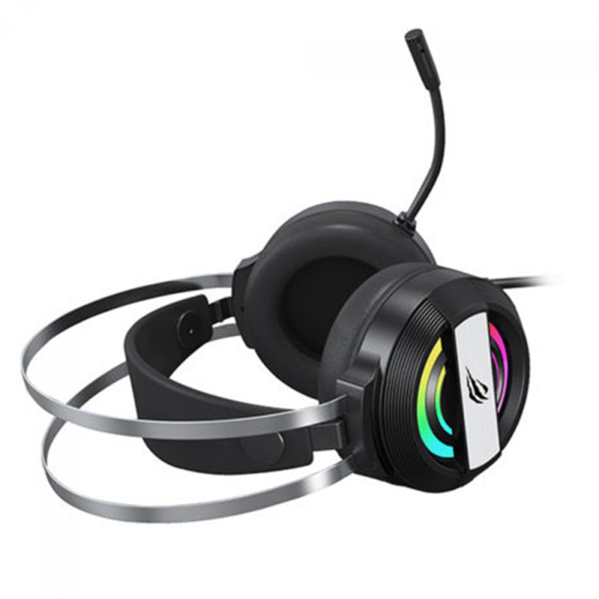 Headset Gamer Havit, 3,5mm e USB, RGB, Black, H2026D