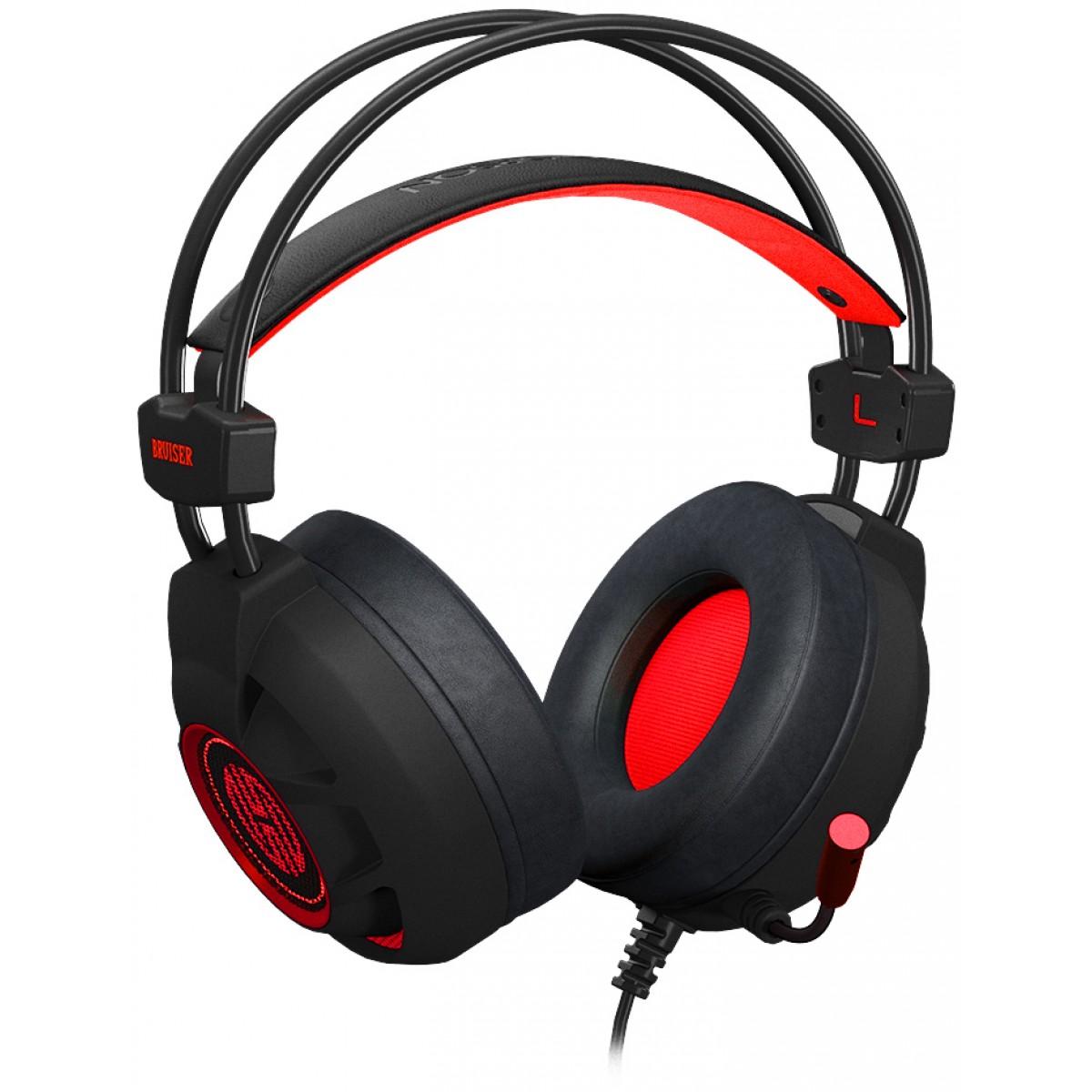 Headset Gamer Hoopson Bruiser, LED, USB, Vermelho, DG28R
