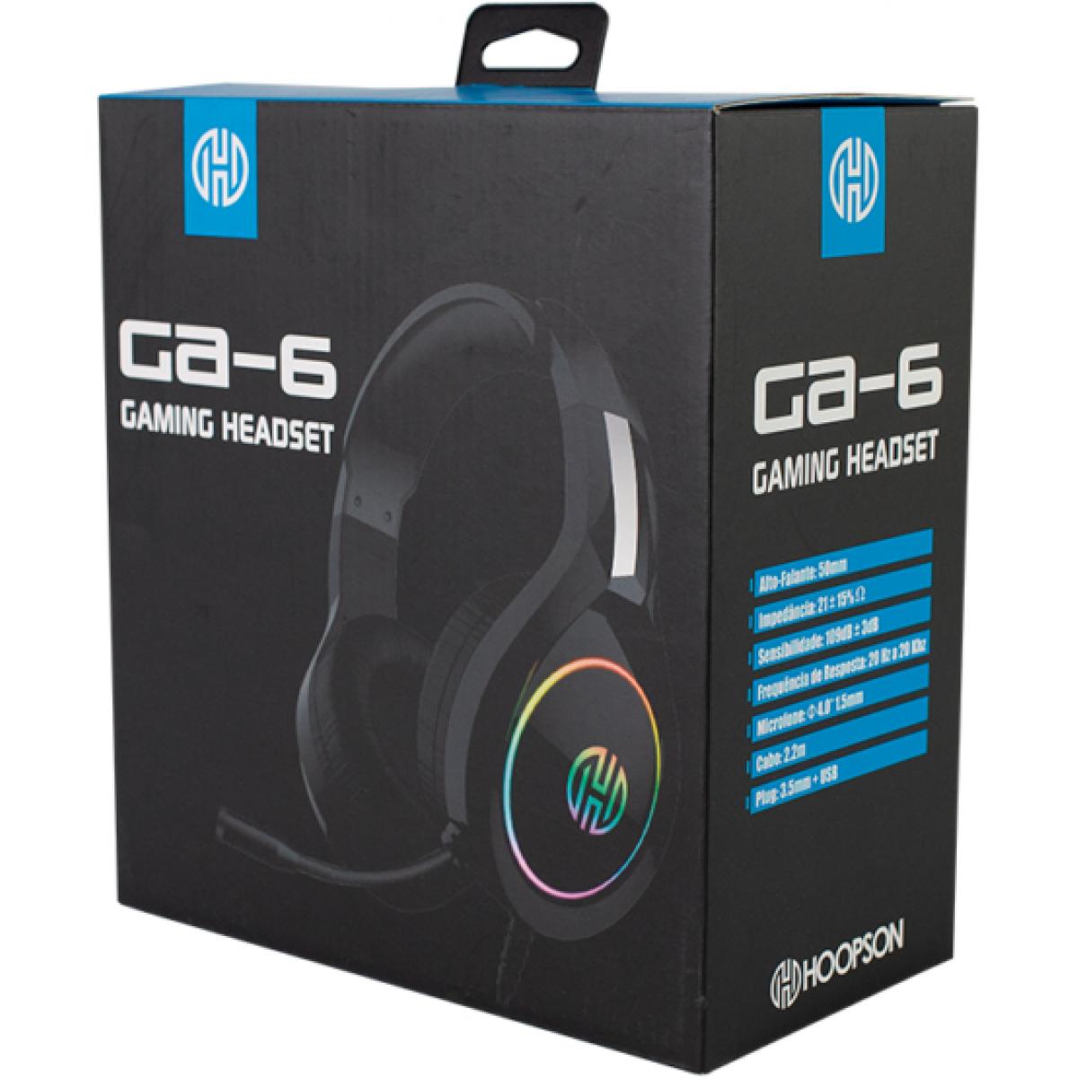 Headset Gamer Hoopson, Led RGB, USB, Preto, GA-6