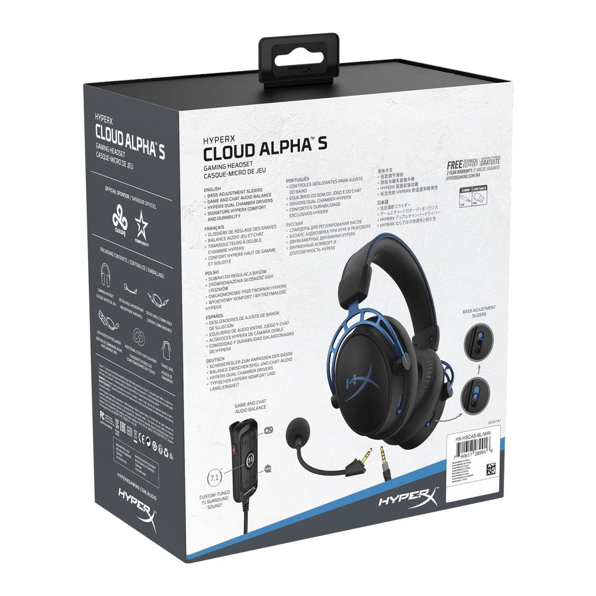 Headset Gamer HyperX Cloud Alpha S, Surround 7.1, 3.5mm, Blue, HX-HSCAS-BL/WW