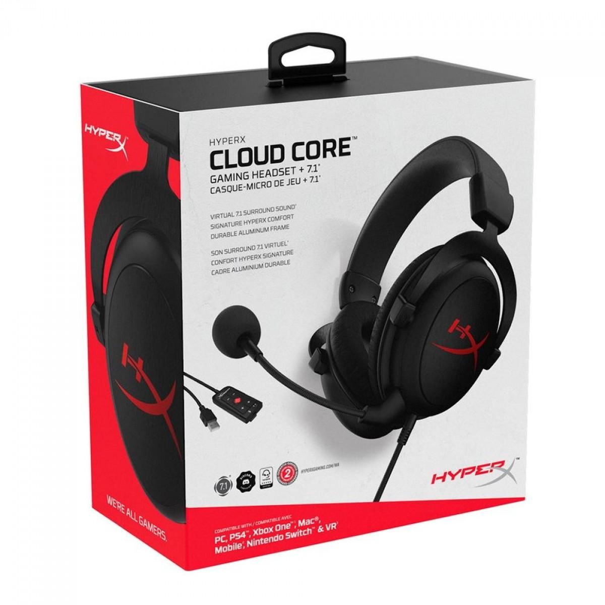 Headset Gamer HyperX Cloud Core, Surround 7.1, P3 ou USB, Black, HX-HSCC-2-BK/WW