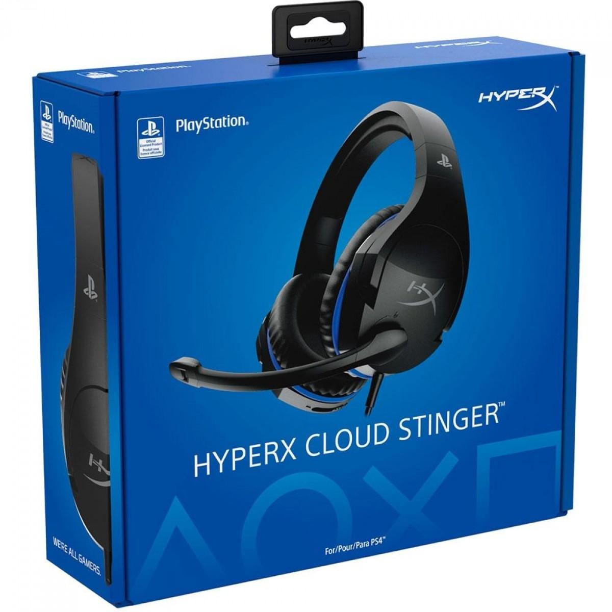 Headset Gamer HyperX Cloud Stinger, Drivers 50mm, PS5 e PS4, P3, Black/Blue, HX-HSCSS-BK/AM