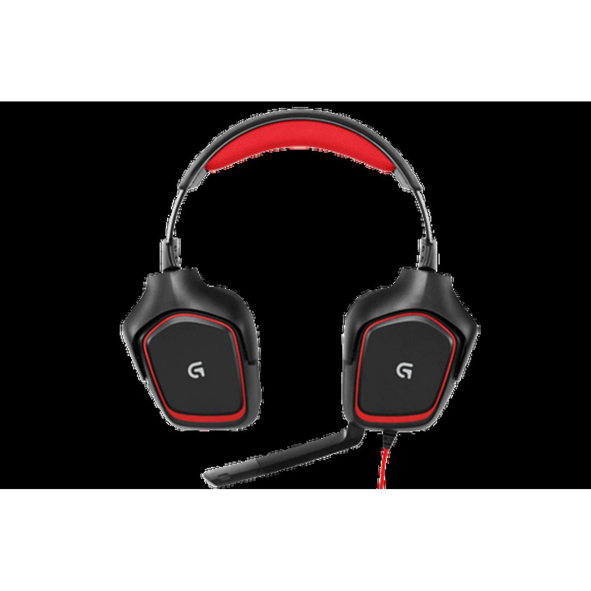 Headset Gamer Logitech G230, Preto/Vermelho