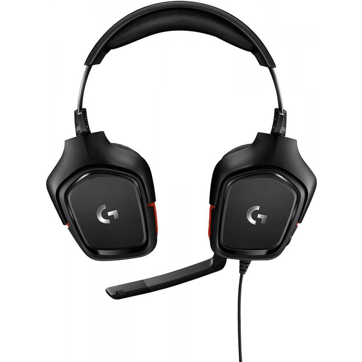 Headset Gamer Logitech G332, Estéreo, Preto/Vermelho