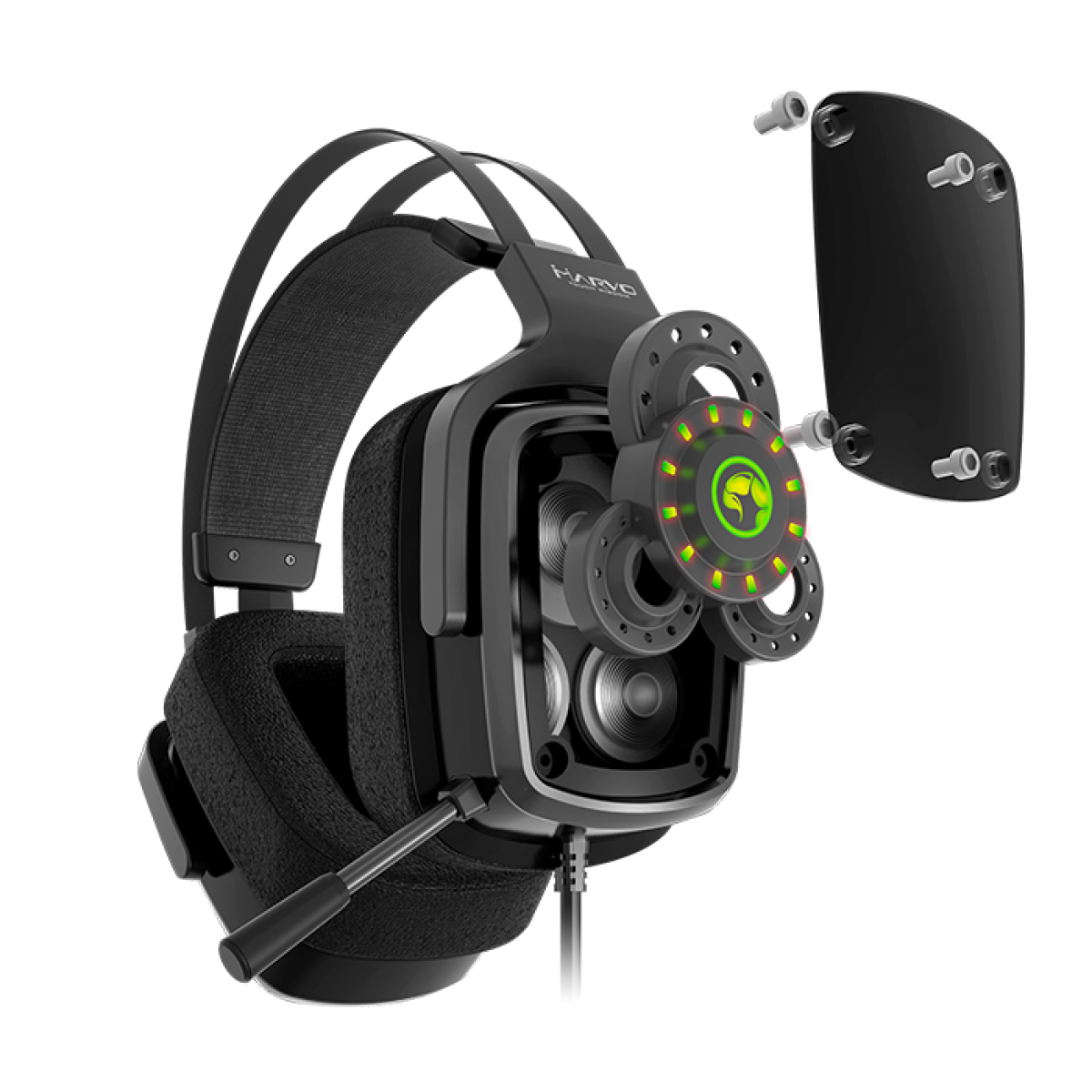 Headset Gamer Marvo HG9046, Surround 7.1, USB, Led 7 Cores