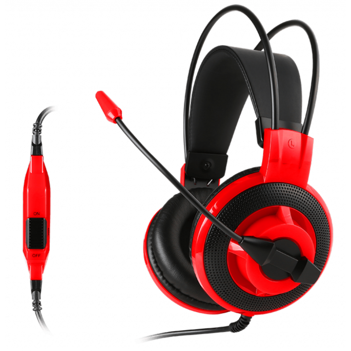Headset Gamer MSI DS501, 3.5mm, Black/Red