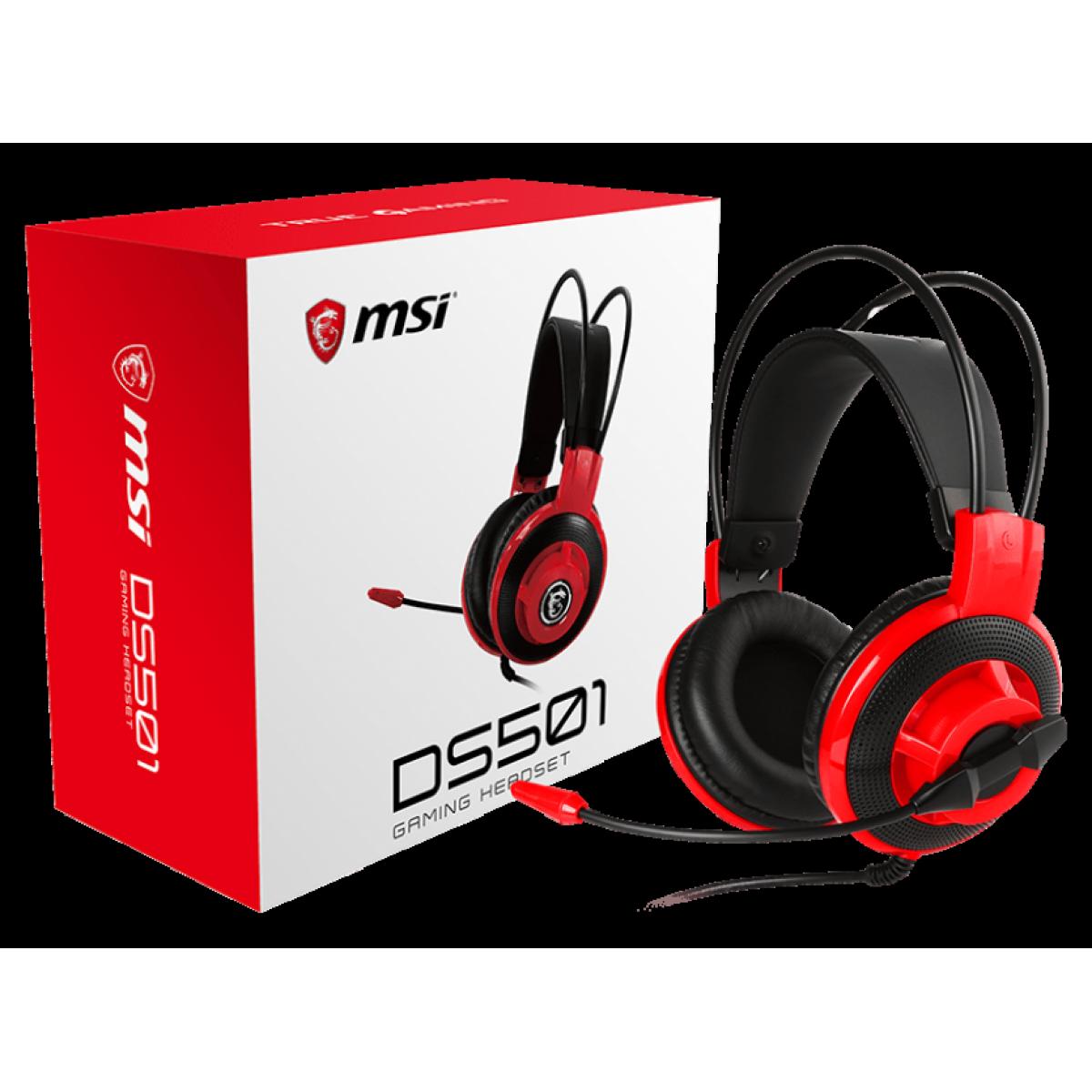 Headset Gamer MSI MS501, 3.5mm, Black/Red