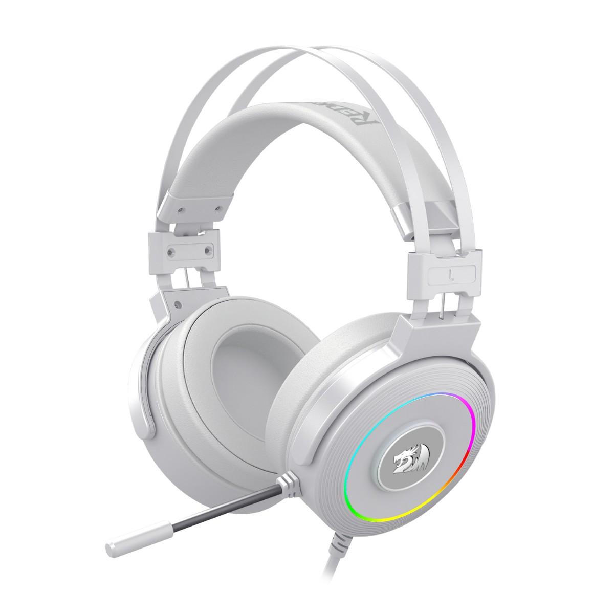 Headset Gamer Redragon Lamia Lunar White H320 RGB, Surround 7.1, Branco, H320W