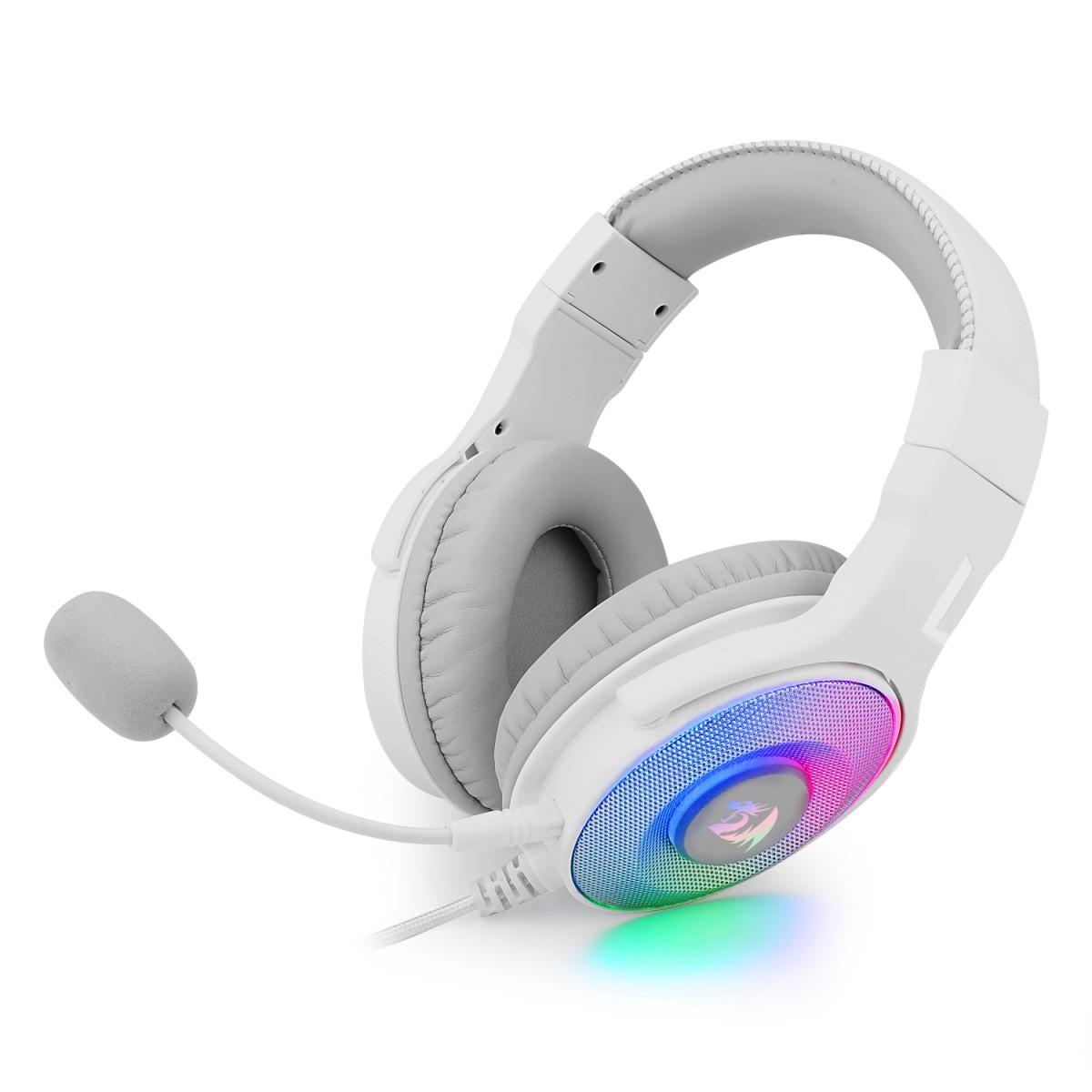 Headset Gamer Redragon, Pandora 2 White, RGB, USB + 3.5mm, Microfone Destacável, H350W-RGB-1