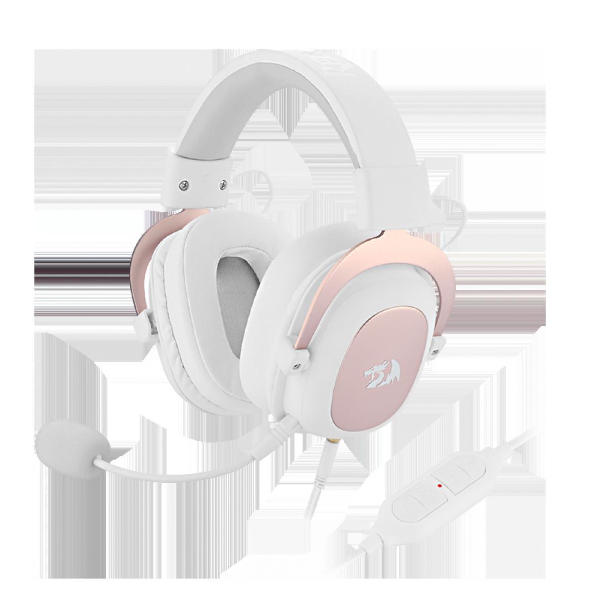Headset Gamer Redragon Zeus 2, 7.1, Branco H510W