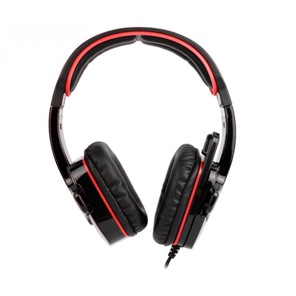 Headset Gamer Sades Sa-708 Gpower, Stereo, Black/Red, SA-708