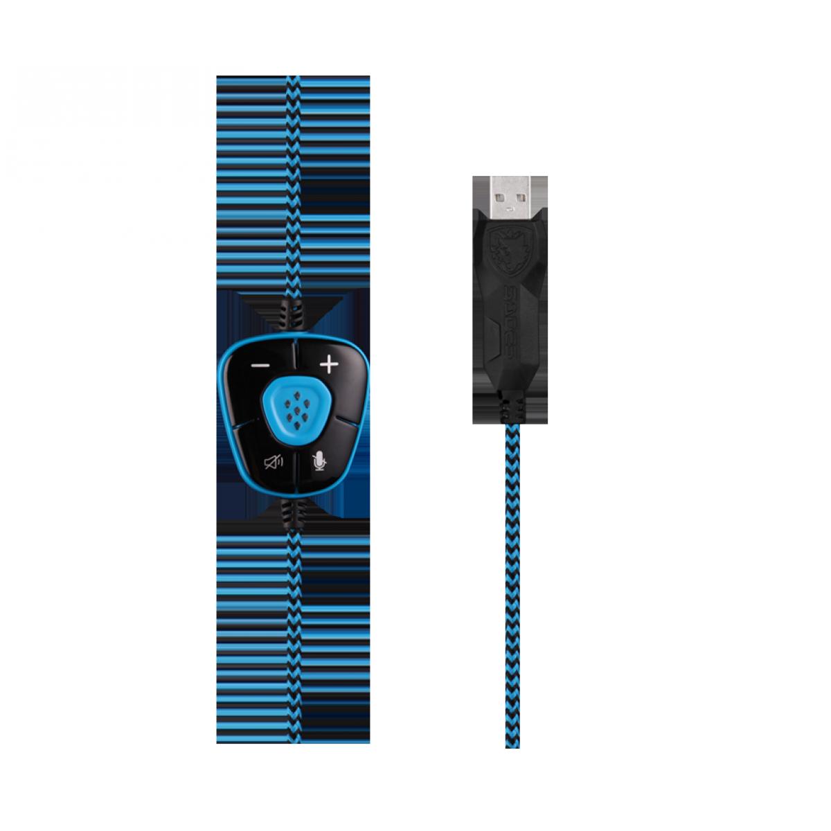 Headset Gamer Sades Sa-902 Snuk, Surround 7.1, Black/Blue, Sa-902