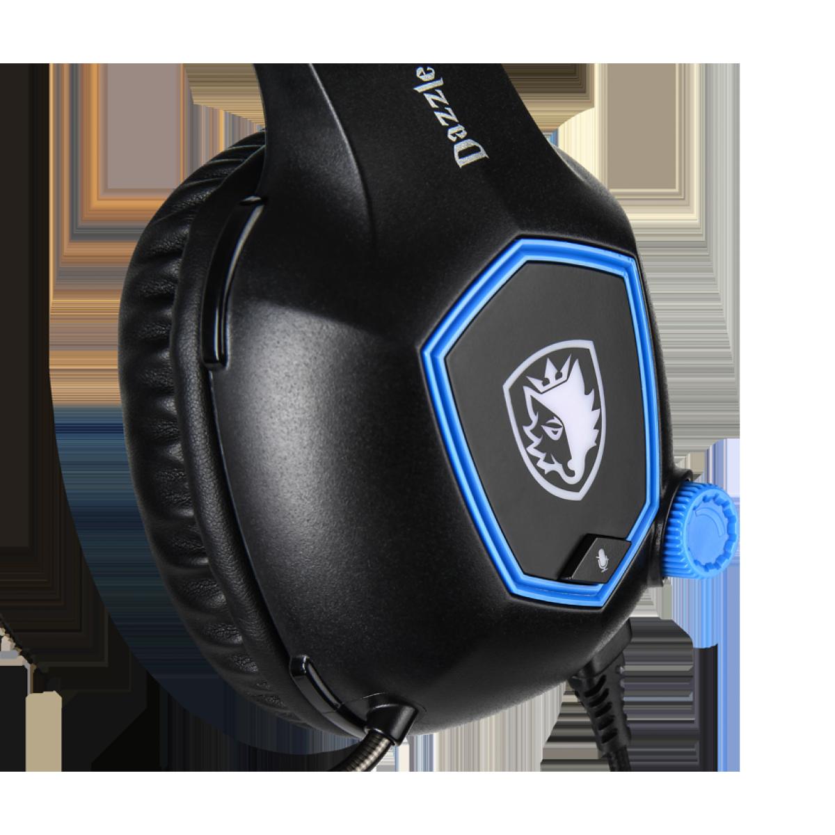 Headset Gamer Sades Sa-905 Dazzle, 7.1 Surround, Black/Blue, Sa-905