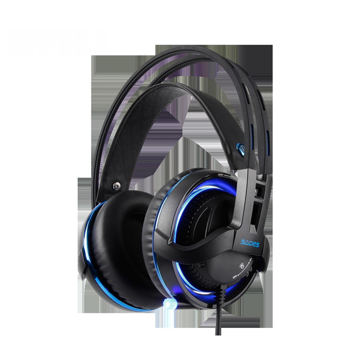 Headset Gamer Sades Sa-916 Diablo, RGB, Stereo, Black, Sa-916