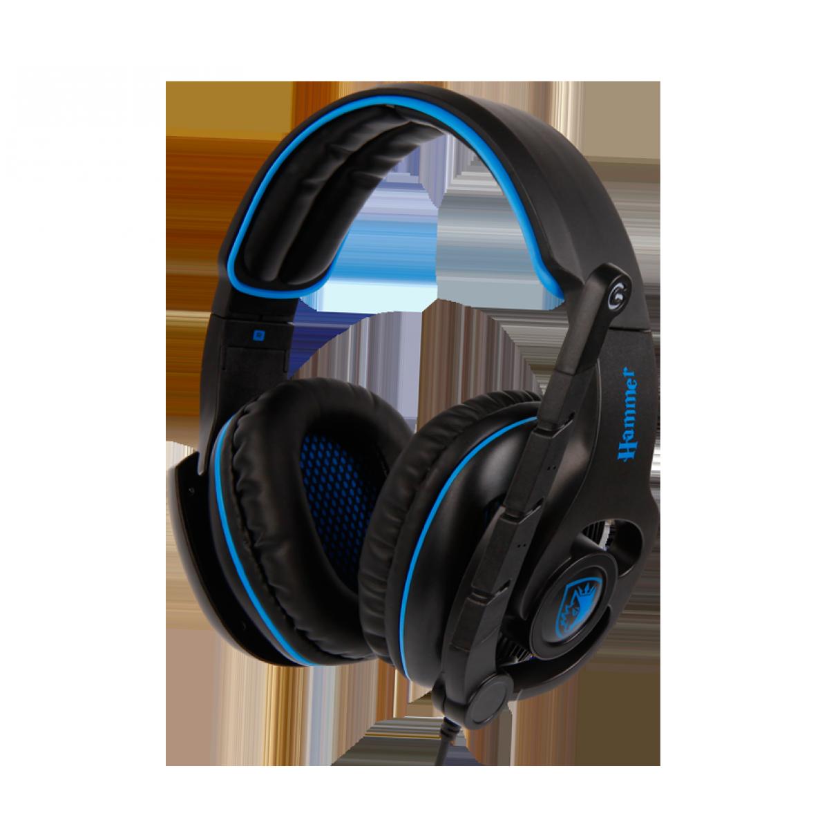 Headset Gamer Sades Sa-923 Hammer, 7.1 Surround, Black/Blue, Sa-923