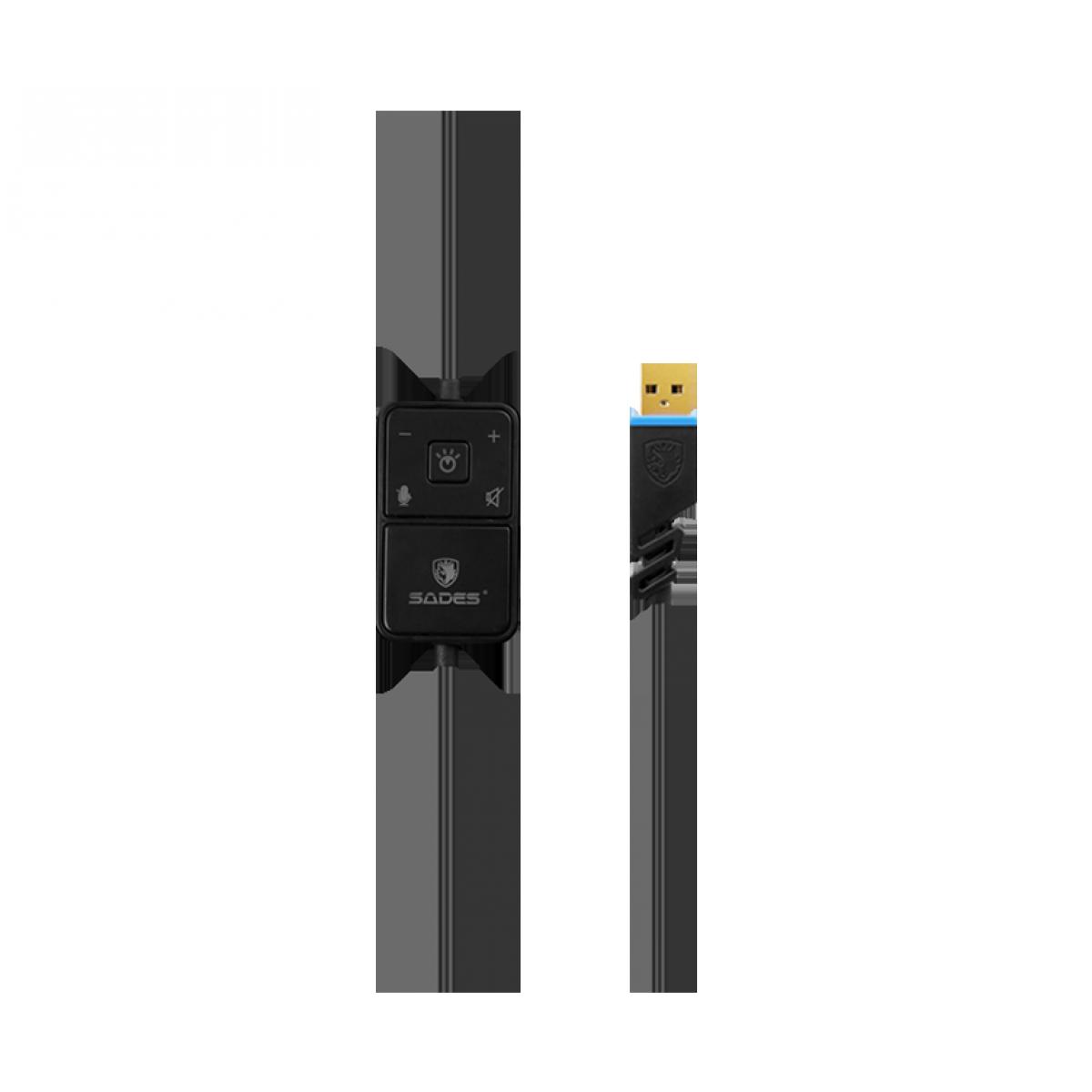 Headset Gamer Sades Sa-968 Luna, 7.1 Surround, Black/Blue, SA-968
