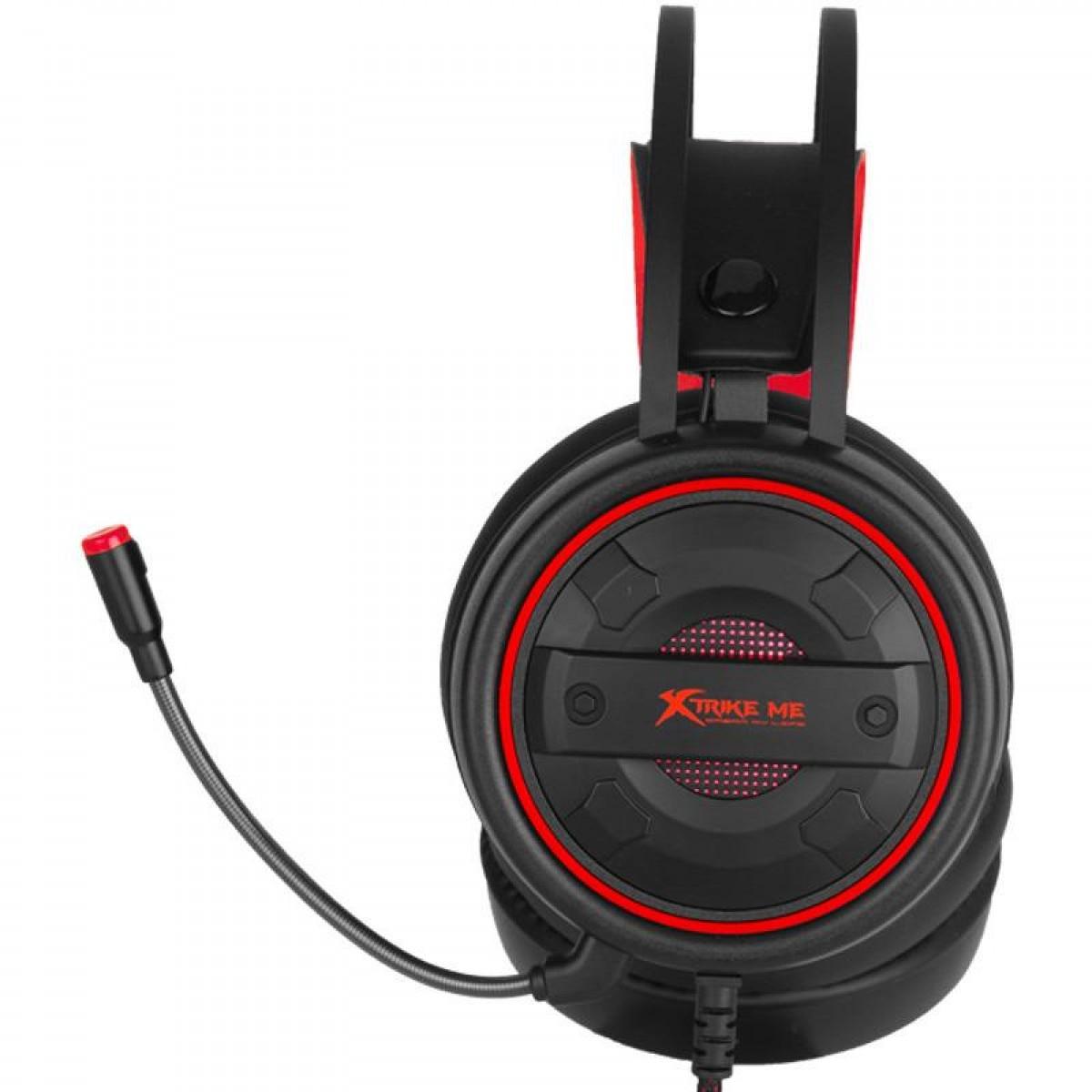Headset Gamer Strike Me GH-705, LED, Preto/Vermelho