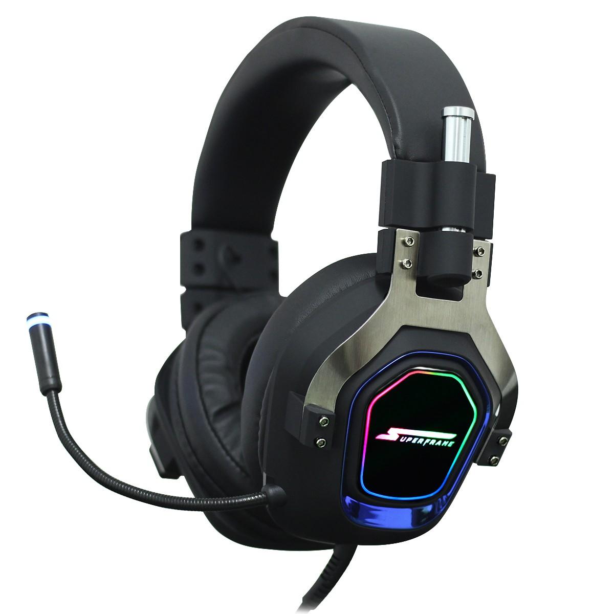 Headset Gamer SuperFrame PRAGMA, 7.1 Surround, RGB, USB, Drives de 50mm, Black