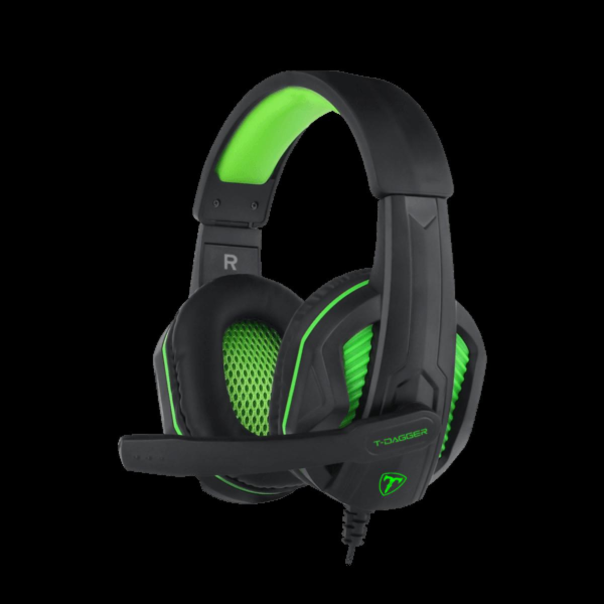 Headset Gamer T-Dagger Cook 2, 2x3.5mm, Black/Green, T-RGH100-1