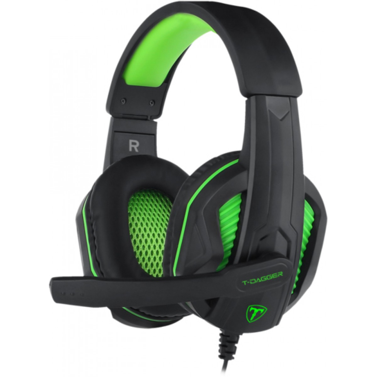Headset Gamer T-Dagger Cook, Black e Green, T-RGH100