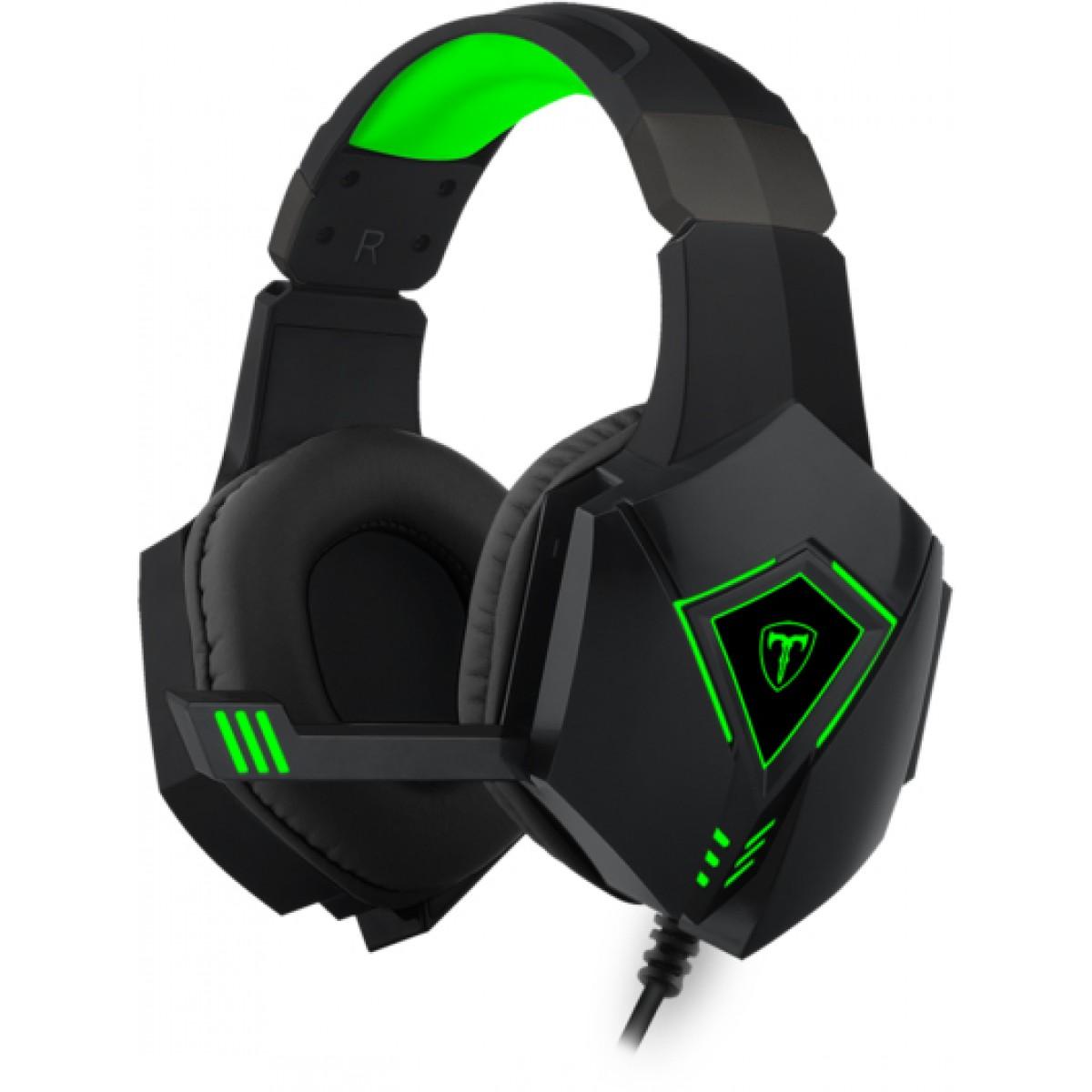 Headset Gamer T-Dagger Rocky, USB, Black e Green, T-RGH206