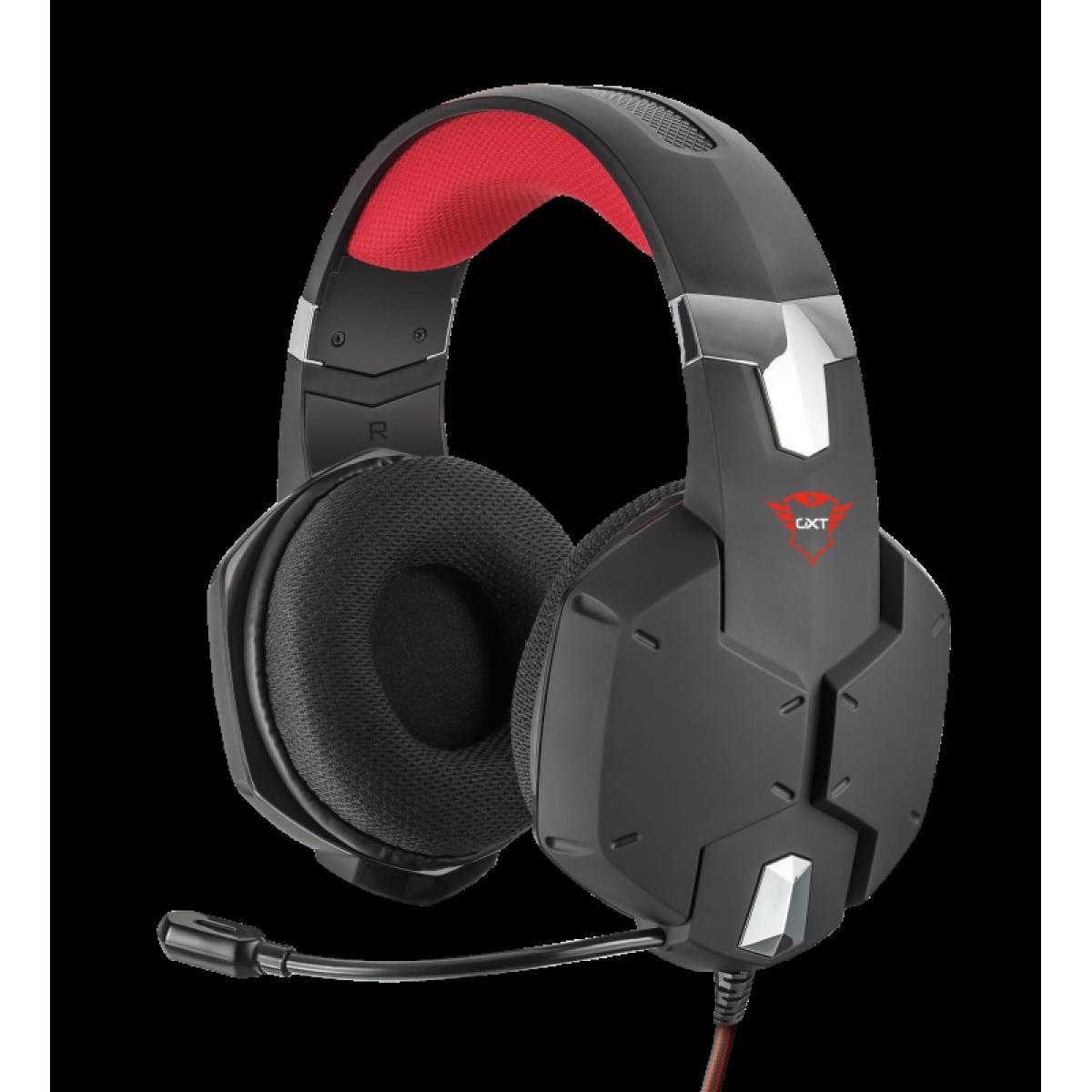 Headset GamerTrust Carus, Multiplataforma, Preto, GXT322