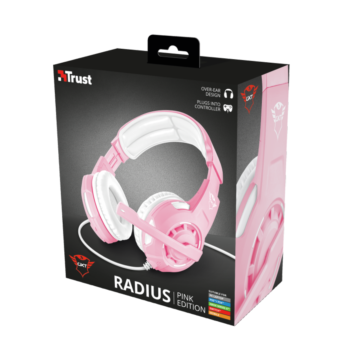 Headset Gamer Trust, GXT 310P Radius Pink, 3,5mm, White/Black, T23203