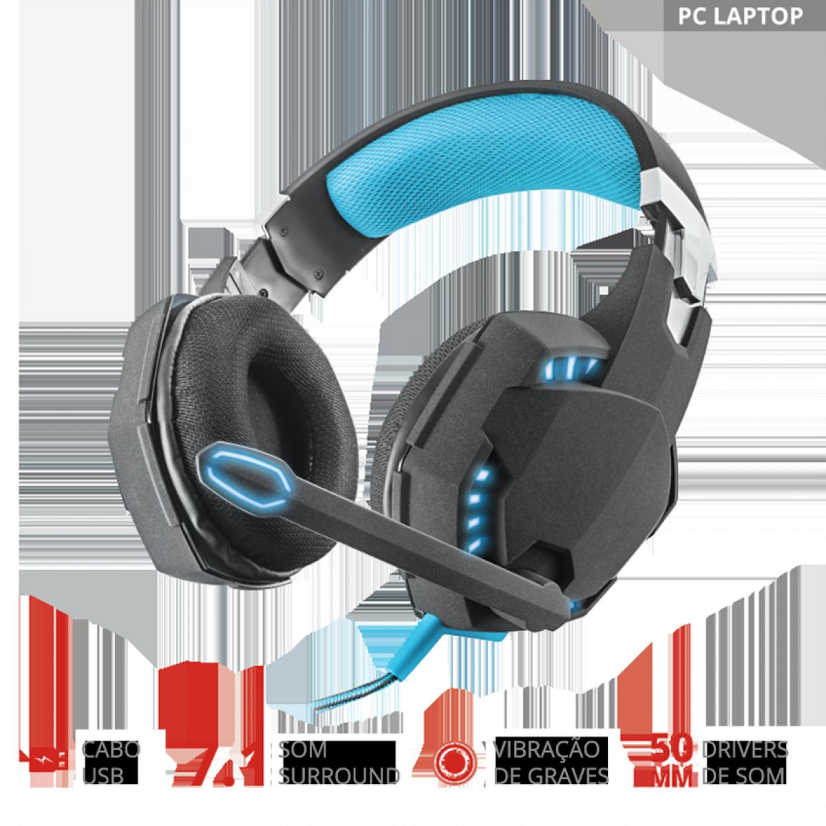 Headset GamerTrustHawk 7.1, Bass Vibration, USB, GXT363
